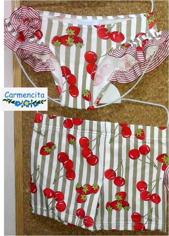 Baño Infantil Carmencita:Inicio / Baño / Traje de Baño Modelo Cerezas (talla 4)